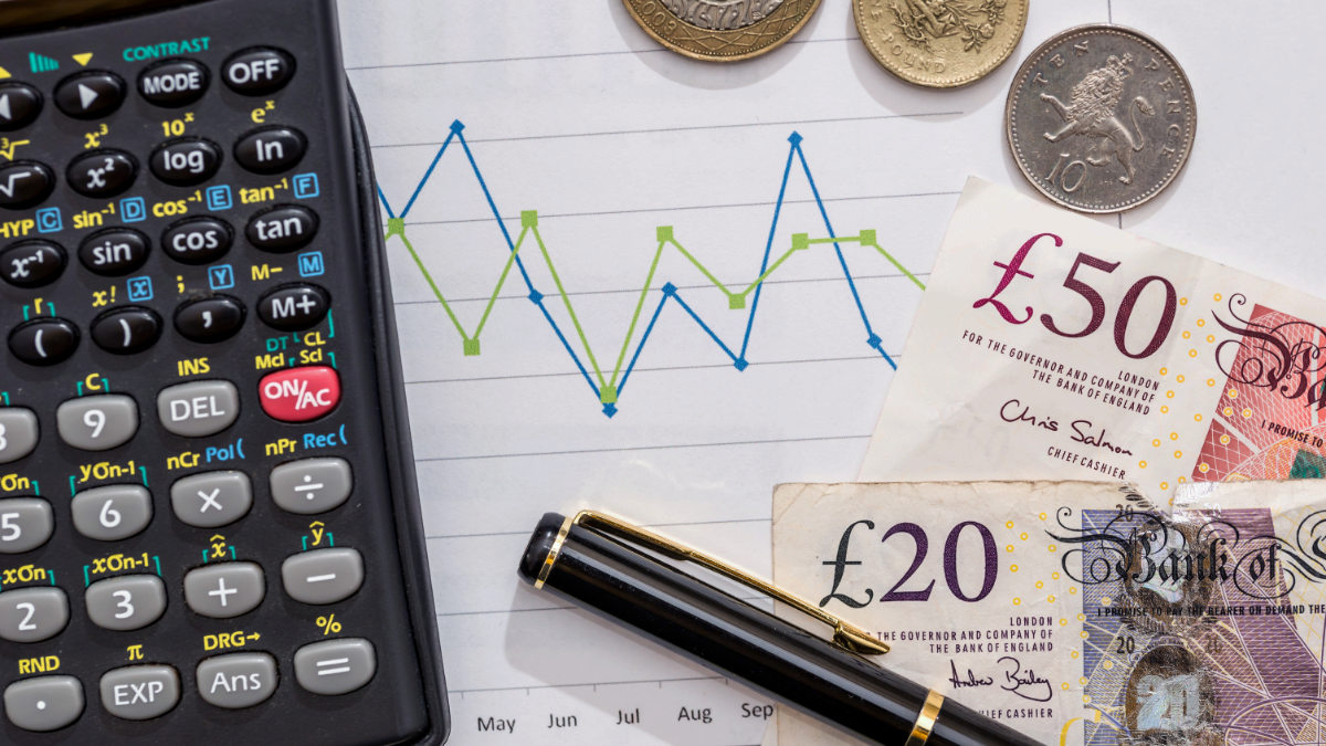 calculator, graph and GBP