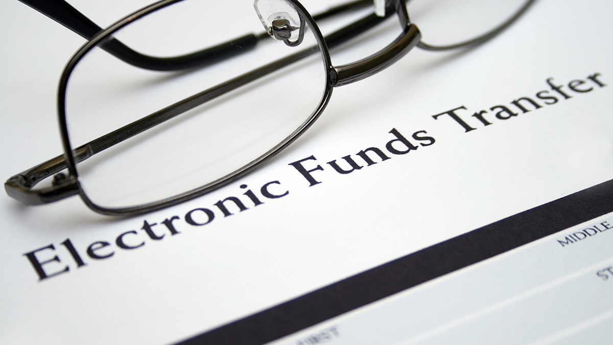 Electronic funds transfer document