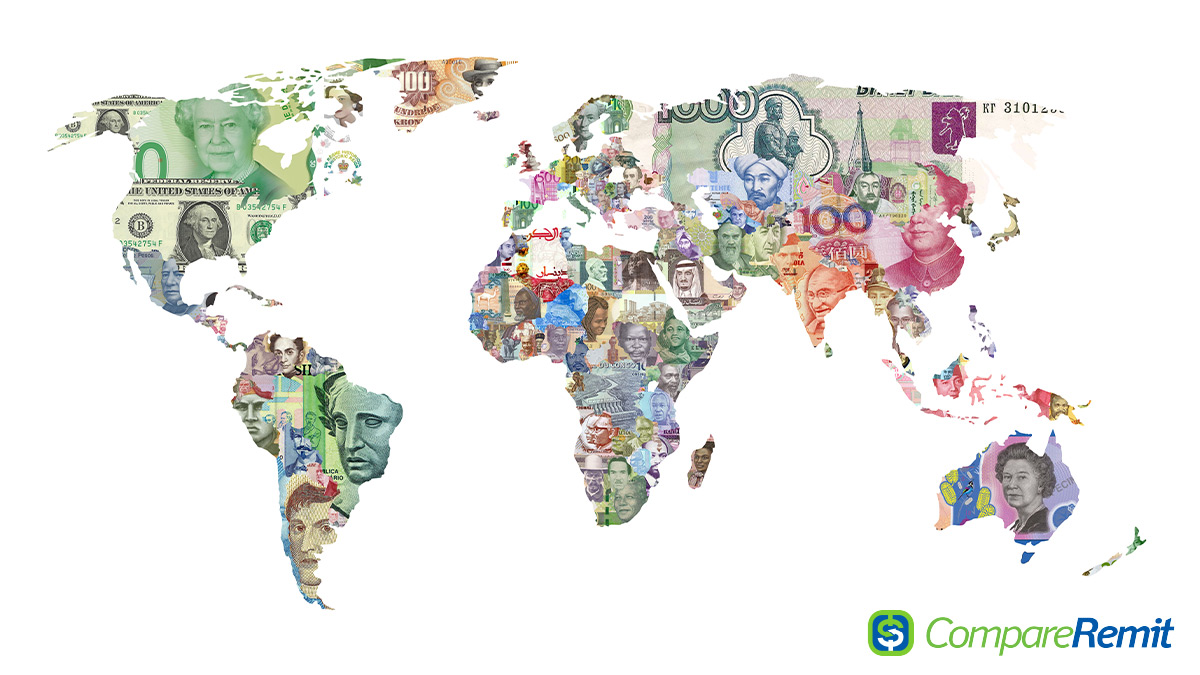 World map currencies